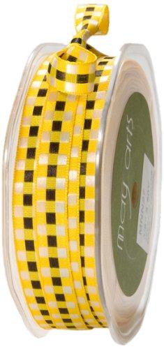 May Arts 3/8-Inch Wide Ribbon, Yellow Multicolored Check by May Arts