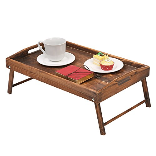 Country Rustic Torched Wood Food Serving Tray, Breakfast in Bed Table with Folding Legs