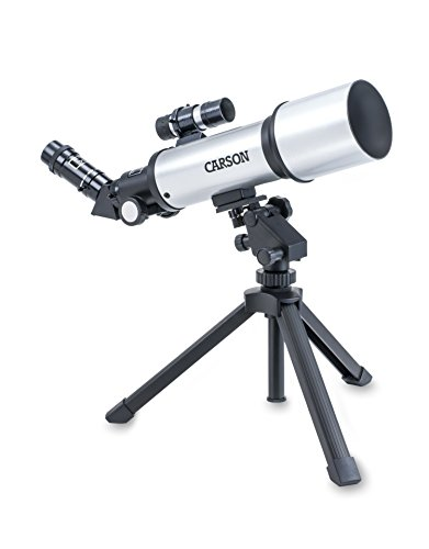 Carson Sky Chaser 70mm Refractor Beginner Telescope with Tabletop Tripod For Kids and Adults with Magnification up to 133.5x for Astronomy and Terrestrial Viewing - Tabletop Telescope Tripod