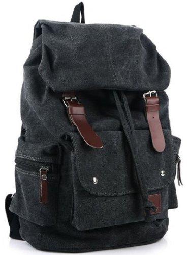 (AM Landen Canvas Backpack High School Backpack Travel Day Bag Unisex Backpack(Black))