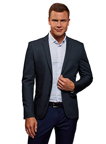 oodji Ultra Men's Slim-Fit Buttoned Blazer, Blue, US, used for sale  Delivered anywhere in Canada
