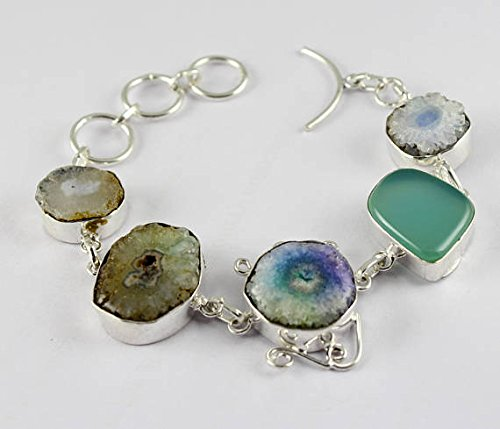 Solar Druzy Agate, Multi Gemstone Bracelet Silver Overlay Fashion Jewellery Statement Jewelry 8 Inch