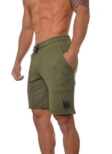YoungLA Gym Shorts for Men French Terry Cotton Workout Casual Athletic Basketball with Pockets 112 (Olive, Small) - French Terry Short Short