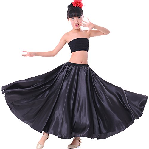 Backgarden Girl Children Color Stretched Waist Performance Circle Skirt Belly Dance Dress M Black