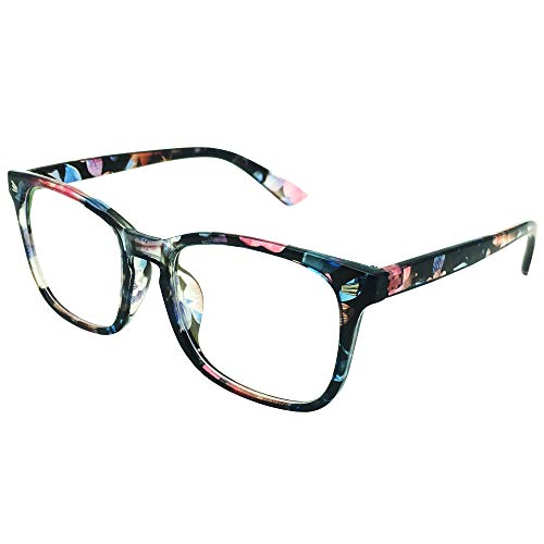 Southern Seas Nearsighted Photochromic -1.25 Oversize Myopia Glasses Mens Womens Floral Frame Distance ()