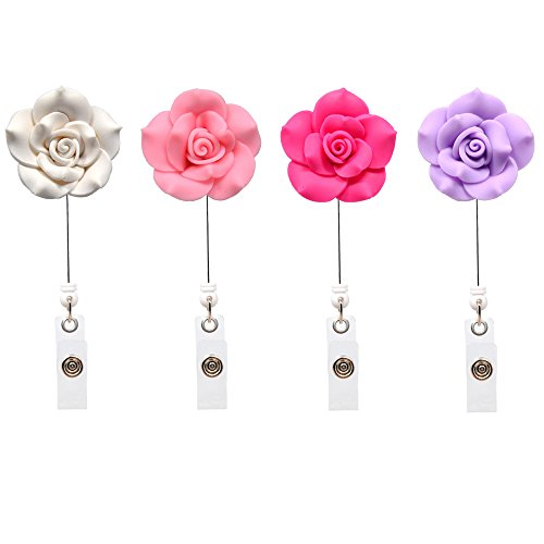 Qinsuee Soft Ceramic Flower Retractable ID/Name Badge Holder with Clip,4 Pack (LightColor) -
