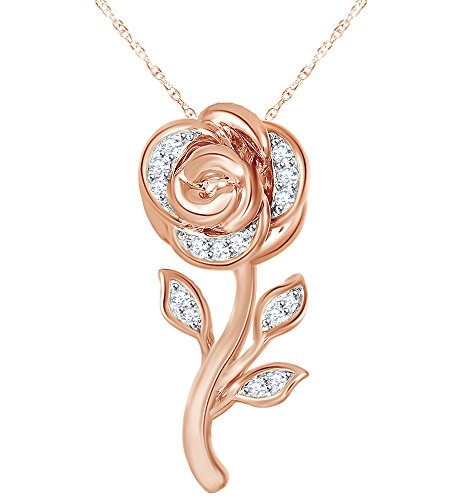 1/10 Ct Diamond Rose Belle Pendant Necklace In 9K Solid Gold