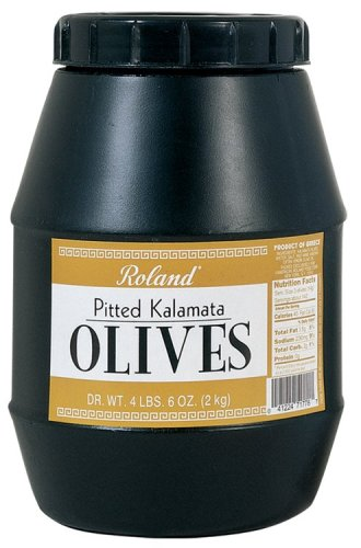 Medium Black Pitted Olives (Roland Pitted Kalamata Olives from Greece, 4LBS, 6-Ounces Jug)