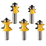 Promisy 5Pcs Half-round Bearing Router Bits 1/2-Inch Shank, Bullnose Router Bit Set with C3 Carbide Tipped 1/2 Round Ball Blade Milling Cutter Bits