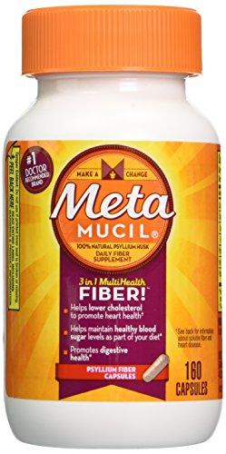 Metamucil 100% Natural Psyllium Fiber Capsules, 160 Count Bottle