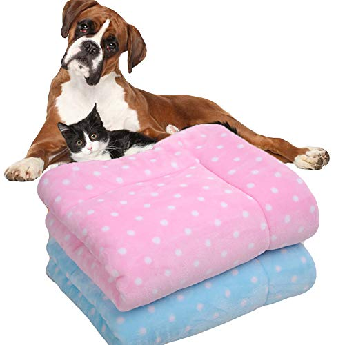 (NACOCO Dog Fluffy Quilt Pet Blanket Flannel Super Soft Cat Winter Warm Thick Mat for Bed Couch Car Sleep Cute Blue Pink Dot Prints (Pink, L (37.7''27'')))