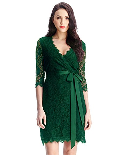 LookbookStore Women's Green Lace 3/4 Sleeves Semi-Formal Mini Cocktail Wrap Dress US 14
