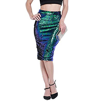 HaoDuoYi Womens Sparkle Mermaid Sequin High Waist Pencil Mini Skirt at Women's Clothing store