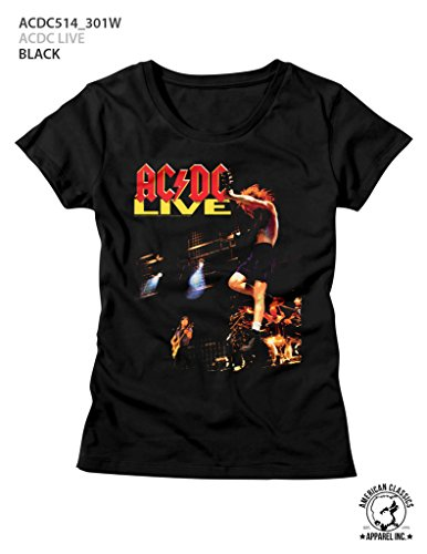 (American Classics AC/DC Hard Rock Band Music Group Rockin Out Live Womens T-Shirt Tee)