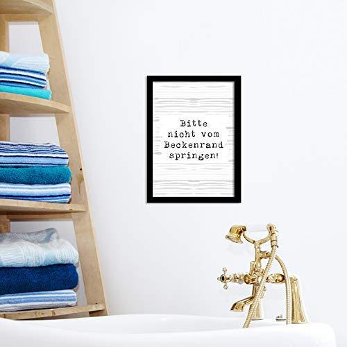 Poster Badezimmer - Bitte nicht vom Beckenrand springen: Amazon.de ...