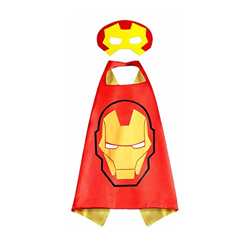 Superhero Children Cloak And Mask Halloween Eight Style Movie Characters Cartoon Anime Cosplay Boy Girl Cloak Kindergarten Performing Clothing Masquerade Props (Iron Man Heroic cloak and (Simple Cartoon Character Costumes)