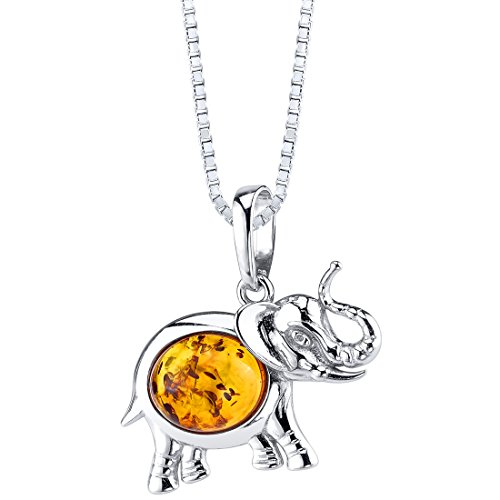 t Pendant Necklace Sterling Silver Cognac Color (Amber Elephant Pendant)
