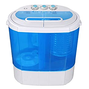 SUPER DEAL Portable Compact Washing Machine, Mini Twin Tub Washing Machine w/Washer&Spinner, Gravity Drain Pump and…