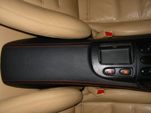 RedlineGoods Center Console Cover Compatible with Mazda RX7 1993-02. Black Alcantara-Blue Thread by RedlineGoods (Image #6)