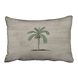 Emvency Decorative Throw Pillow Cover Queen Size 20x30 Inches Vintage Palm Tree Pillowcase With Hidden Zipper Decor Cushion Gift For Holiday Sofa Bed
