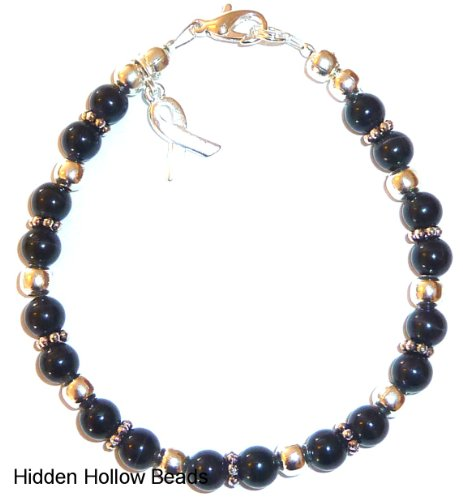 Bracelet, Melanoma - Skin Cancer - Awareness or Fundraising Campaign, Black by Hidden Hollow, (7 ¾ in.), 6mm (Skin Cancer Awareness Bracelets)