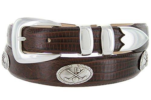 Hagora Women's Real Italian Calfskin Eclectic Textures Golf Conchos Buckle Belt,Lizard Brown 36 ()