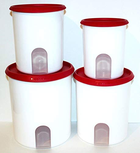 TUPPERWARE ONE TOUCH REMINDER 4-PC. CANISTER SET/POPSICLE RED WITH NEW DESIGNED SEALS