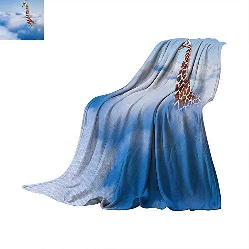 (ALLMILL Giraffe Throw Blanket Aerial Scene of a Flying Animal in Fluffy Clouds Heaven Fantasy for Animals Themed Custom Design Cozy Flannel 60