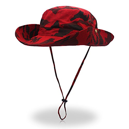 (FayTop Unisex Outdoor Hiking hat Camouflage Boonie Hat Adjustable Bucket Hats Wide Brim UV 50+ Sun Protection Hats Cap for Men Women B10031-Red Camo)