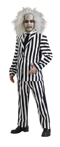 Scary Costumes Deluxe (Beetlejuice Deluxe Costume, Black/White,)