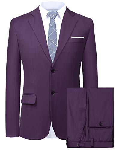 Tweed Purple - Hanayome Men's Suit 2 Pieces Slim Fit Suit Jacket Pant Coat Business Blazer Men -Purple-52R
