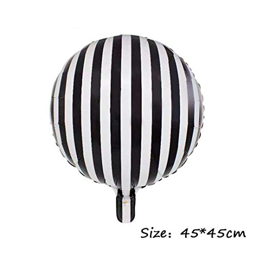 SHHOMELL 2Pcs 18Inch Black and White Striped Checkerboard Round Balloons Eid Party Foil Balloon
