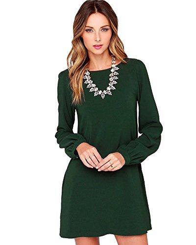 Romacci Women's Long Sleeve Chiffon Casual Loose Solid Shift T-shirt Dresses,S-XL Green Shift