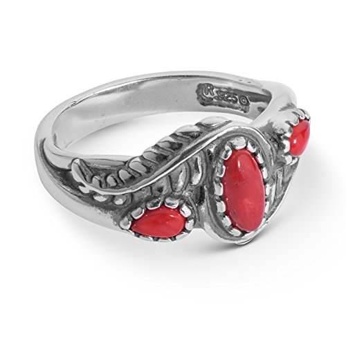 American West Sterling Silver & Red Coral Leaf Band Ring ()