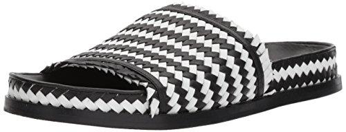 (Sigerson Morrison Women's AOVEN Flat Sandal Black/White 8.5 Medium US)