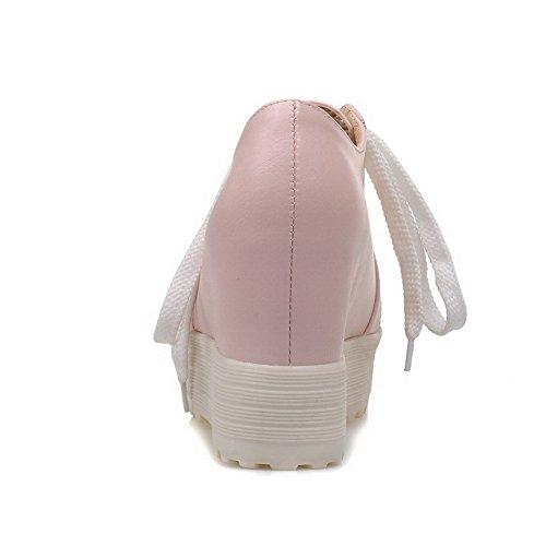 PU Femme Lacet Rose Haut à Unie Légeres Cuir Talon Chaussures VogueZone009 Rond Couleur 8d5q4w18n