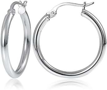 Hoops & Loops Sterling Silver 2mm High Polished Small Round Hoop Earrings