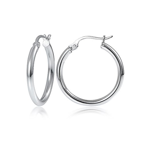 [Hoops & Loops Sterling Silver 2mm High Polished Round Hoop Earrings, 20mm] (White Gold Silver Hoop)