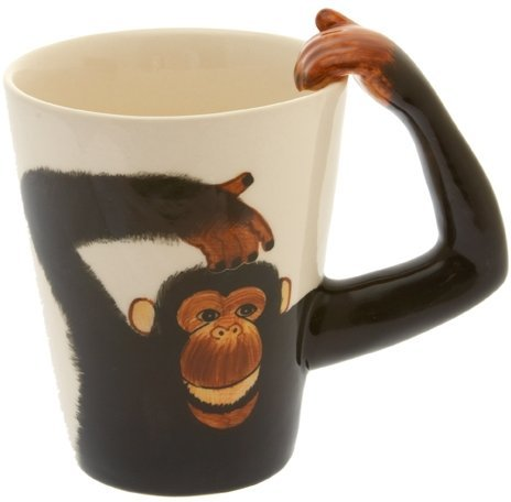 TYWPYY Monkey/Chimp Handle Tea/Coffee Mug - Cheeky Monkey Mug Have A Nice Day Coffee Mug, Funny Cup with Middle Finger on The Bottom Fine Porcelain Tea Cup