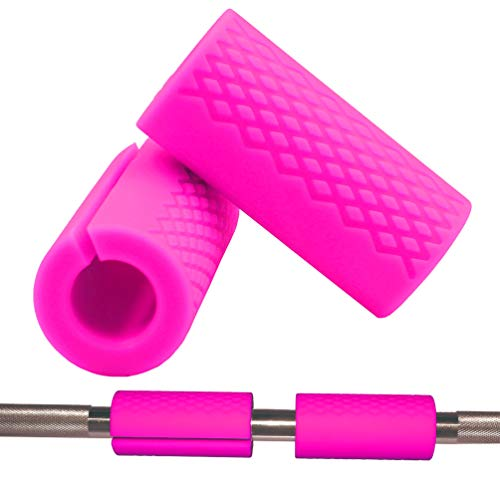Weight Bar Grips Thick - fit Standard Olympic Barbell, Dumbbell, Bicep,Trap Bar, Pull Up Bar, Rope Grips - Grip Fat Bar Arm Forearm Strength for Women Gym Squat Weightlifting Cable Exercise (Rose-Pink