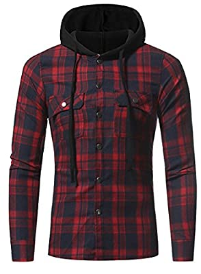 WSPLYSPJY Men's Plaid Button Down Hoodies Flannel Shirt
