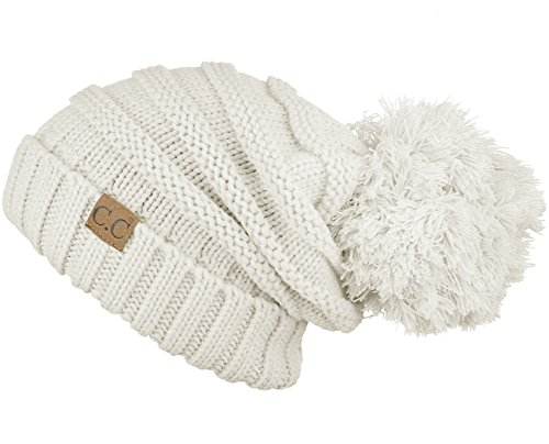 Hatsandscarf CC Exclusives Unisex Oversized Slouchy Beanie with Pom (Ivory)