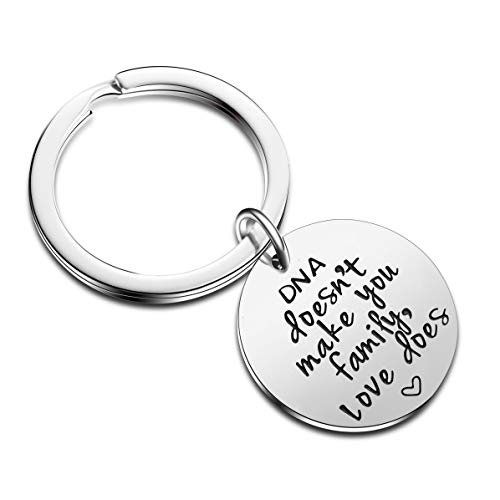 DNA Doesn't Make You Family Love Does Charm Keyring Gift for Stepmother Stepfather Mothers'Day Fathers' Day Jewelry (Style-DNA does't Make)