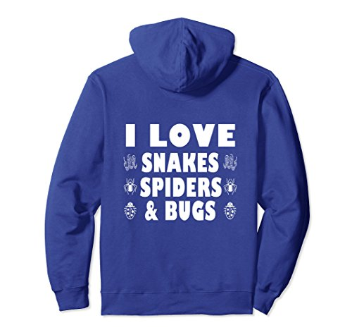 Unisex Funny I Love Snakes Spiders And Bugs Hoodie Insects Pets XL: Royal Blue Bug Hooded Sweatshirt