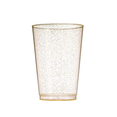 (Well Packed MrZegho 50 Cups 10 OZ Gold Glitter Plastic Cups, 10oz Gold Glitter Fancy Plastic Tumbler for Holidays, Parties, Weddings, Special Occasions, 50 Gold Glitter Party Thick Plastic)