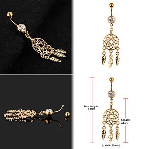 (Stylish Navel Belly Ring Rhinestone Button Bar Barbell Body Piercing Jewelry (Design - Dream Catcher))