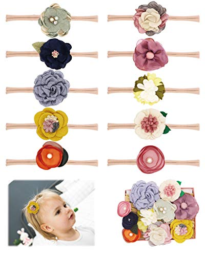 - Fancy Clouds Baby Girl Headbands flowers,10 Pack Hair Bows Accessories for Newborn Infant Toddler Gift (fw flower)