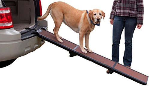 Dog Travel Ramp - Pet Gear Tri-Fold Ramp, Supports up to 200lbs, 71 in. Long, Patented Compact Easy-Fold Design, Two Models to Choose from, Safety Tether Included