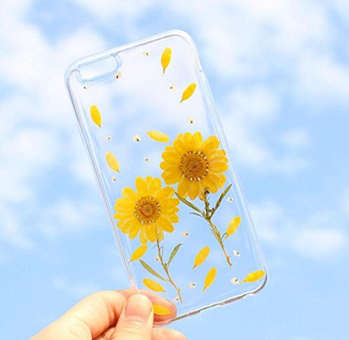 iPhone 8 Plus/iPhone 7 Plus Case(5.5inch),Blingy's New Exclusive Real Beautiful Pressed Dry Flower Series Transparent Soft Rubber TPU Clear Case for iPhone 8 Plus/iPhone 7 Plus (Sunflower)