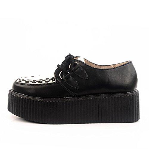 RoseG Mujer Zapatos Cordones Cuero Plataforma Punk Creepers Negro